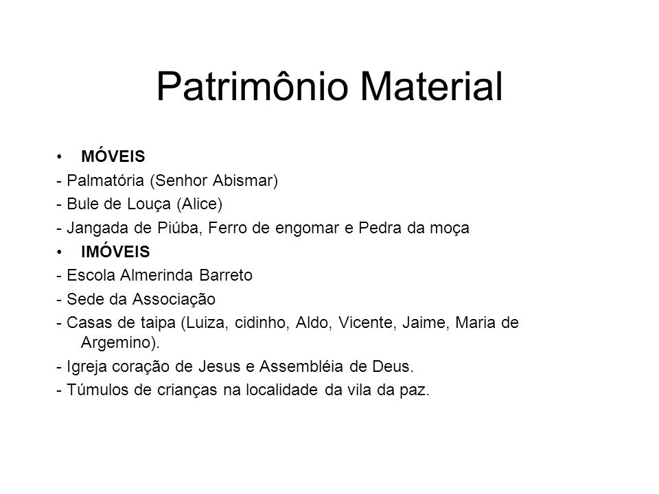 Patrimônio Material MÓVEIS - Palmatória (Senhor Abismar)