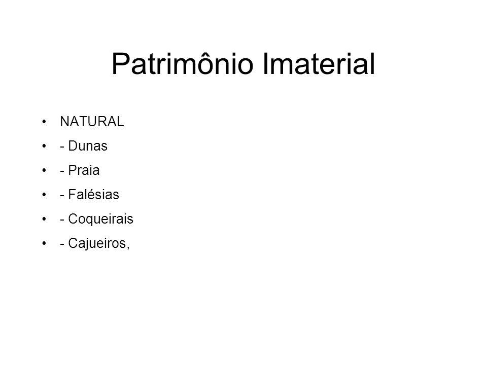 Patrimônio Imaterial NATURAL - Dunas - Praia - Falésias - Coqueirais