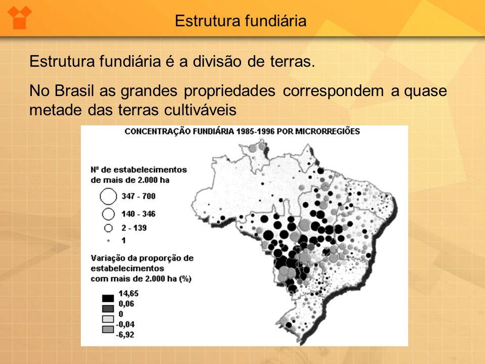 Estrutura fundiária Estrutura fundiária é a divisão de terras.
