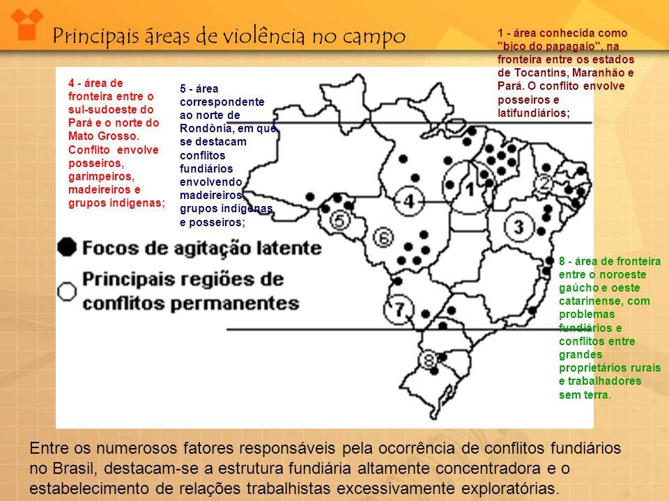 Principais áreas de violência no campo