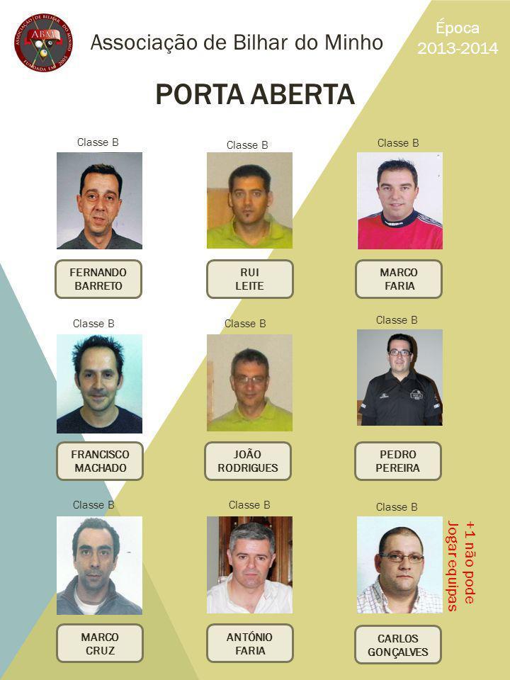 PORTA ABERTA Associação de Bilhar do Minho Época 2013-2014 +1 não pode