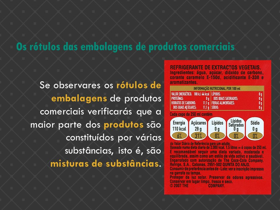 Os rótulos das embalagens de produtos comerciais
