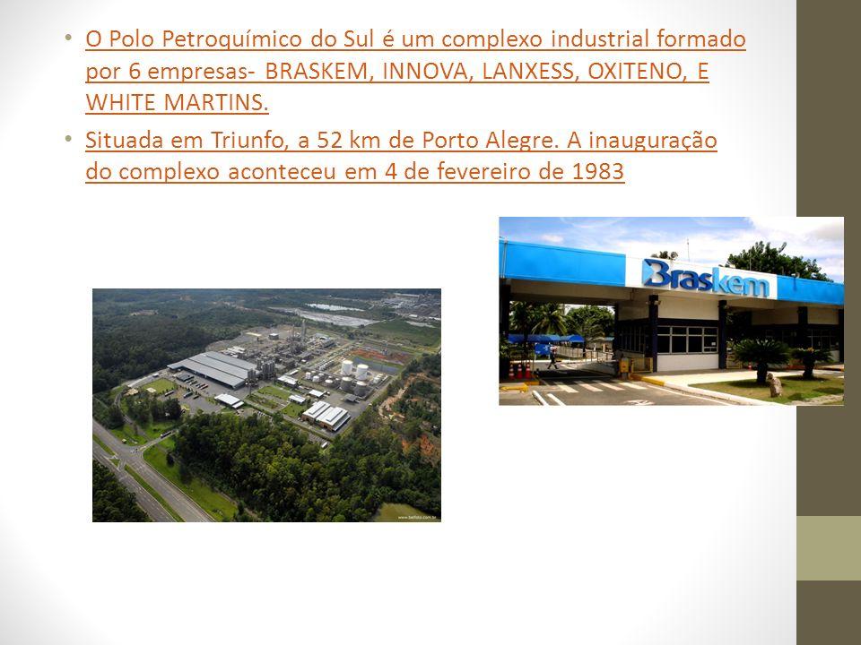 O Polo Petroquímico do Sul é um complexo industrial formado por 6 empresas- BRASKEM, INNOVA, LANXESS, OXITENO, E WHITE MARTINS.