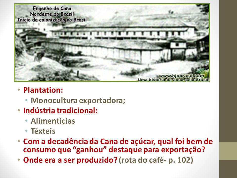 Plantation: Monocultura exportadora; Indústria tradicional: Alimentícias. Têxteis.