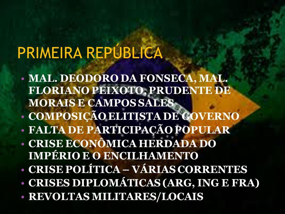 PRIMEIRA REPÚBLICA MAL. DEODORO DA FONSECA, MAL. FLORIANO PEIXOTO, PRUDENTE DE MORAIS E CAMPOS SALES.