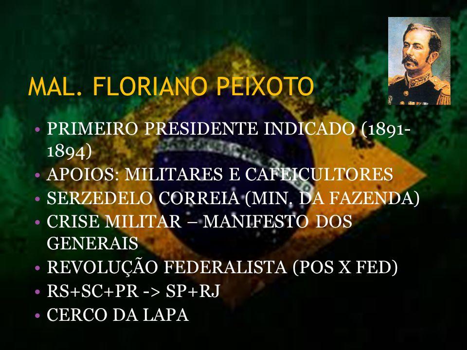 MAL. FLORIANO PEIXOTO PRIMEIRO PRESIDENTE INDICADO (1891- 1894)