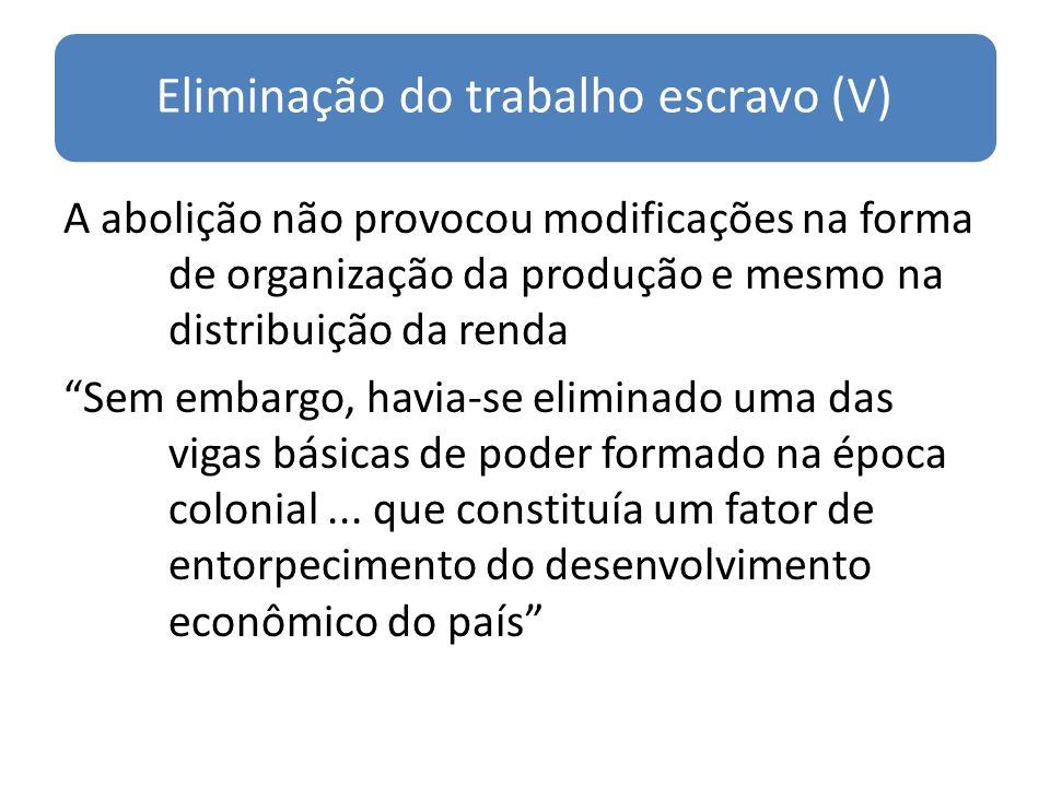 Eliminação do trabalho escravo (V)