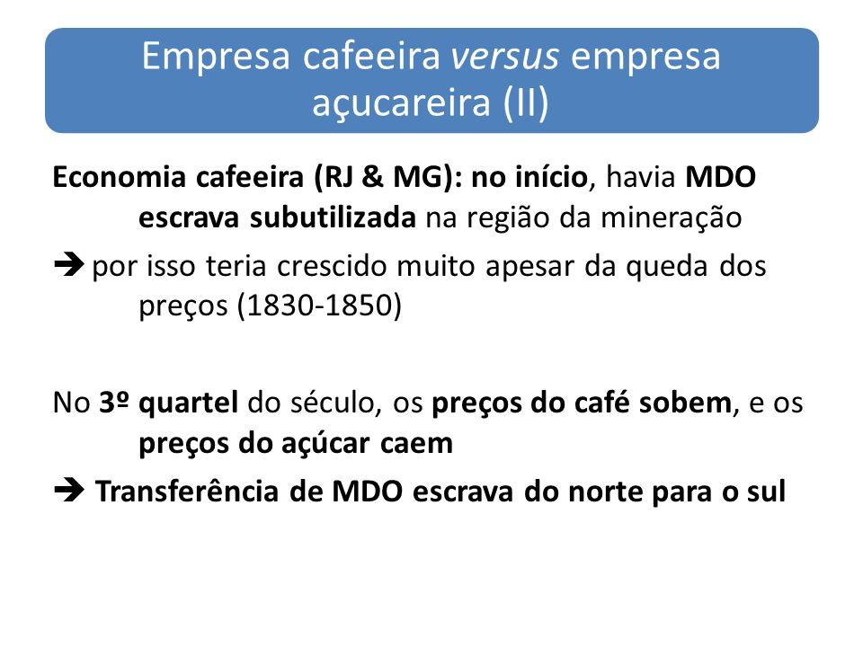 Empresa cafeeira versus empresa açucareira (II)