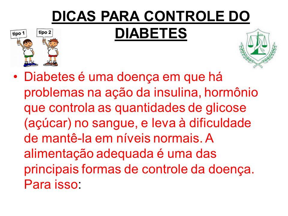 DICAS PARA CONTROLE DO DIABETES