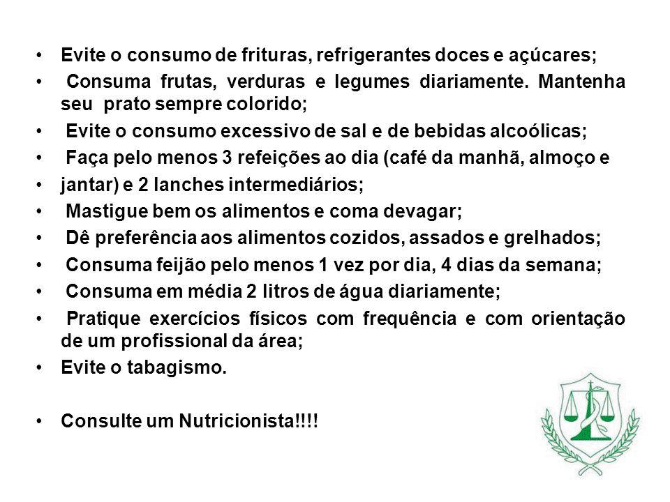 Evite o consumo de frituras, refrigerantes doces e açúcares;