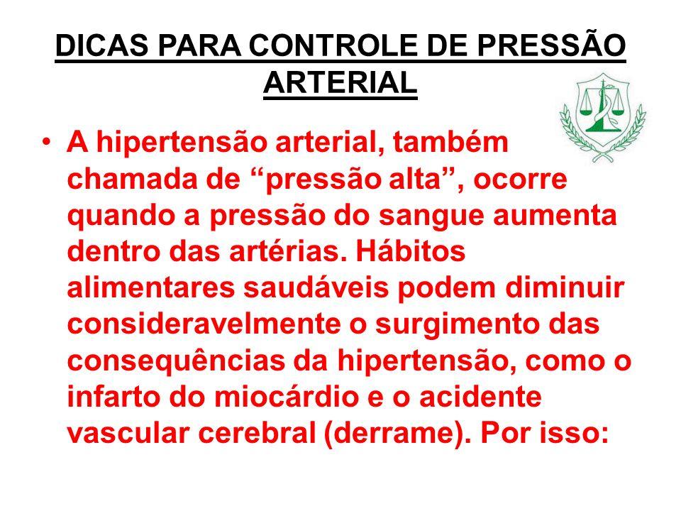 DICAS PARA CONTROLE DE PRESSÃO ARTERIAL