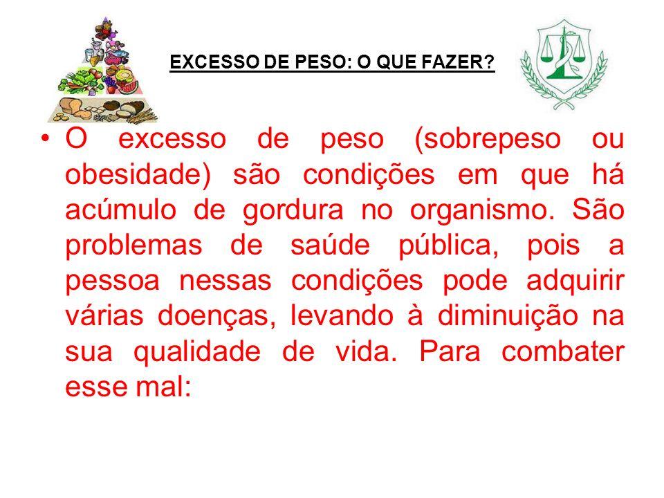 EXCESSO DE PESO: O QUE FAZER