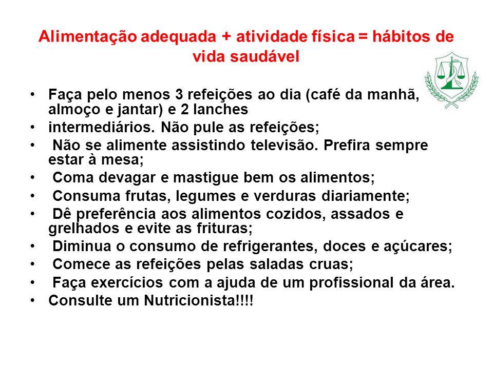 Alimentação adequada + atividade física = hábitos de vida saudável