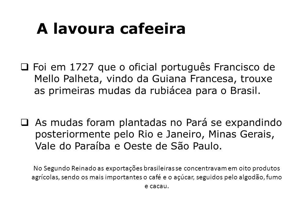 A lavoura cafeeira Foi em 1727 que o oficial português Francisco de