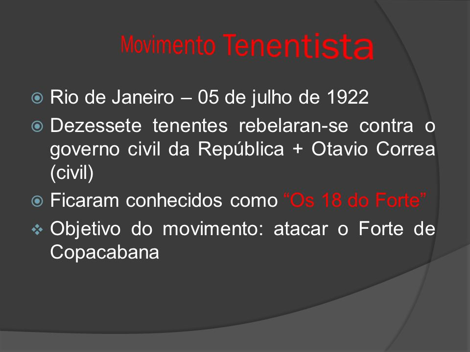 Movimento Tenentista Rio de Janeiro – 05 de julho de 1922