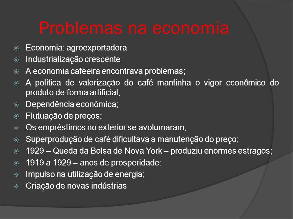 Problemas na economia Economia: agroexportadora