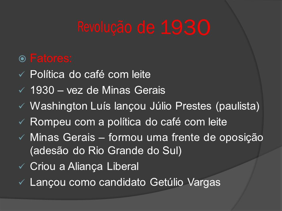 Revolução de 1930 Fatores: Política do café com leite
