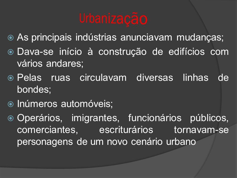 Urbanização As principais indústrias anunciavam mudanças;