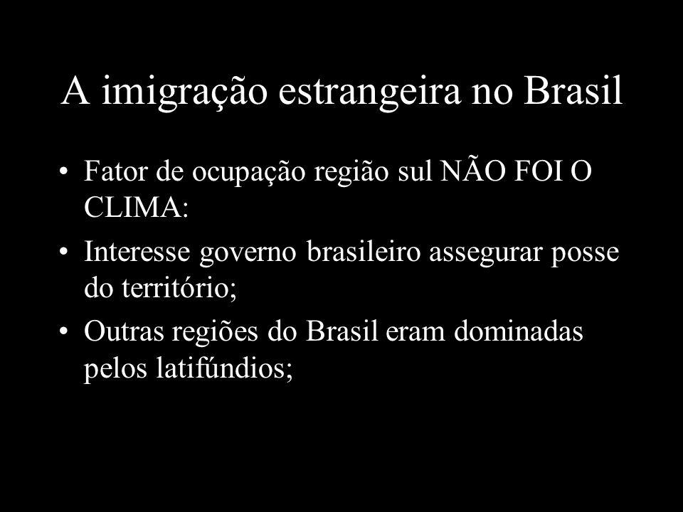 A imigração estrangeira no Brasil