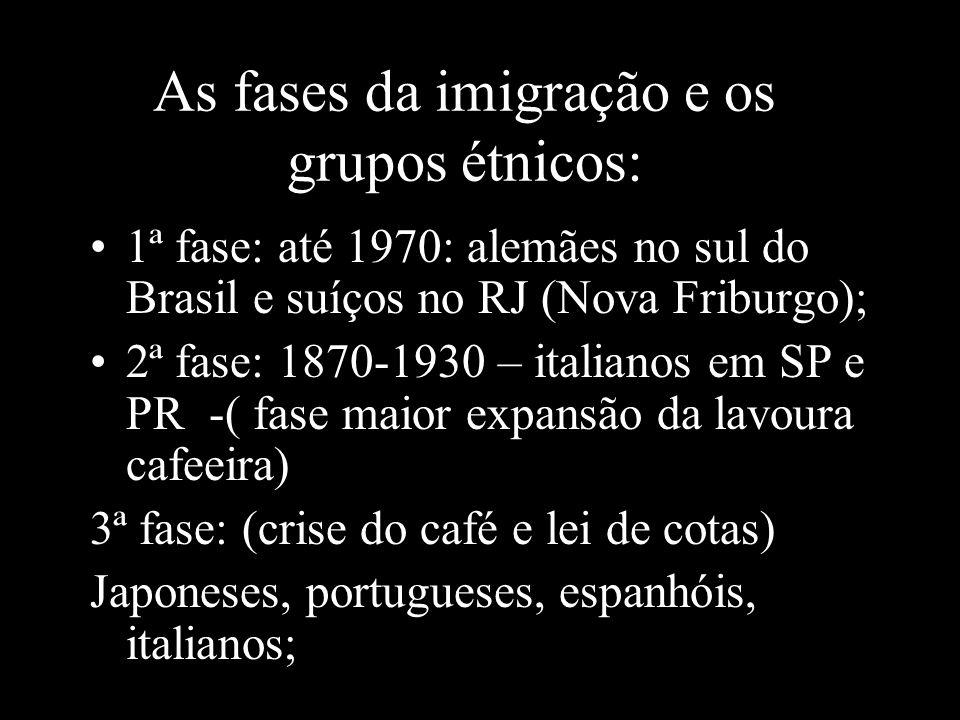 As fases da imigração e os grupos étnicos: