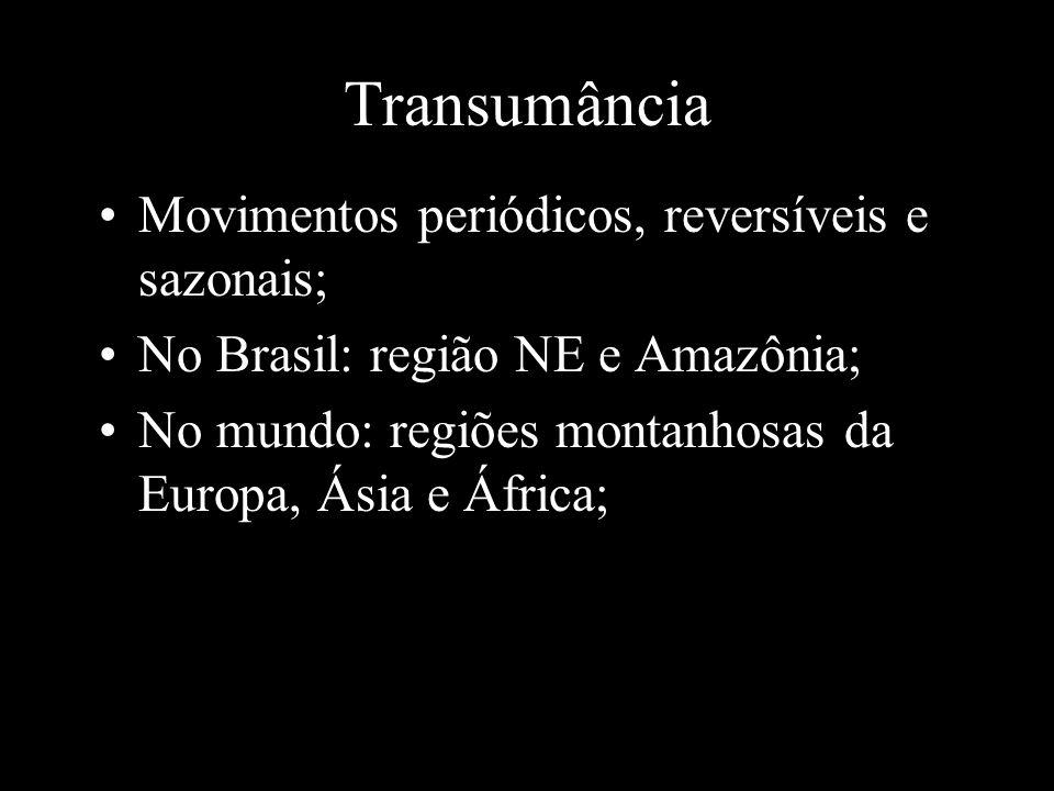 Transumância Movimentos periódicos, reversíveis e sazonais;
