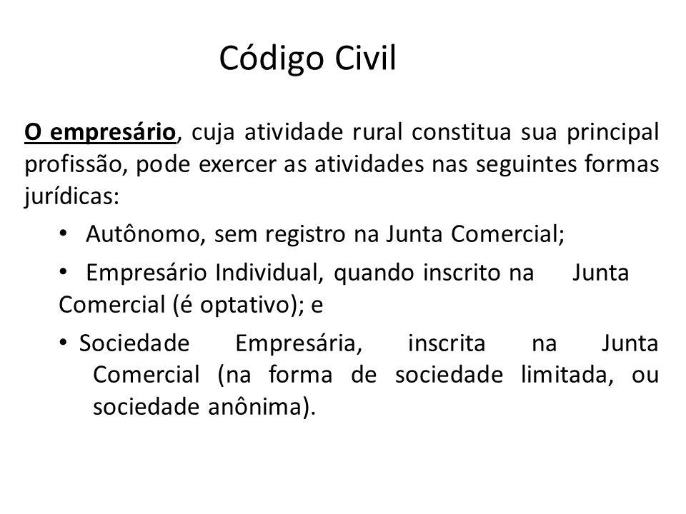 Código Civil O empresário, cuja atividade rural constitua sua principal profissão, pode exercer as atividades nas seguintes formas jurídicas: