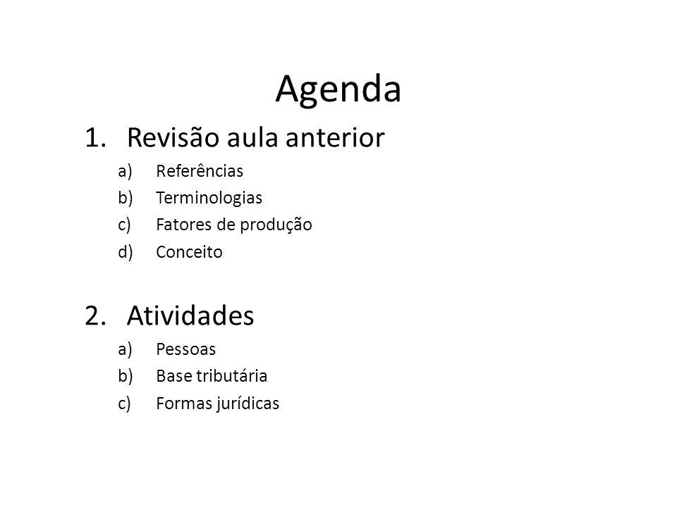 Agenda Revisão aula anterior Atividades Referências Terminologias