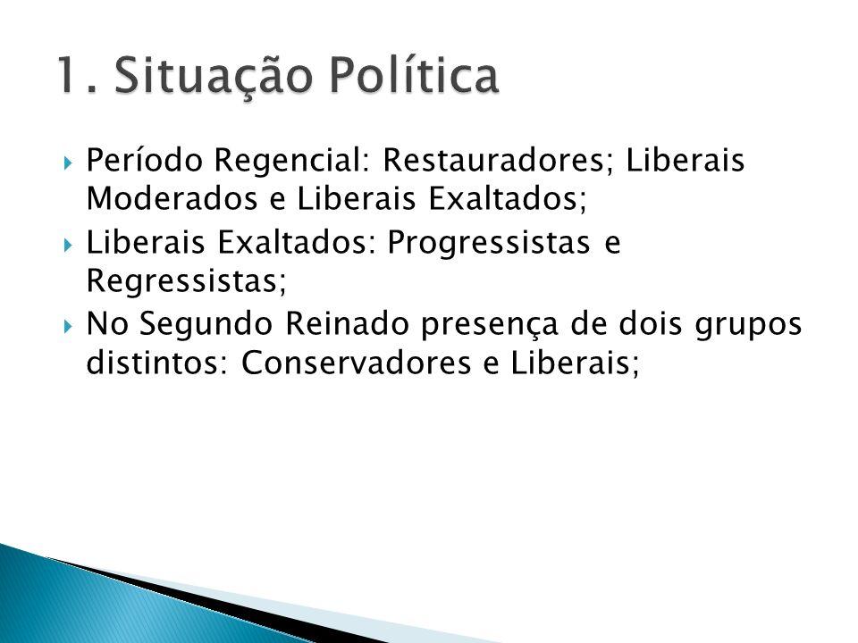 1. Situação Política Período Regencial: Restauradores; Liberais Moderados e Liberais Exaltados; Liberais Exaltados: Progressistas e Regressistas;