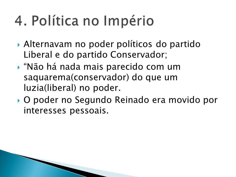 4. Política no Império Alternavam no poder políticos do partido Liberal e do partido Conservador;