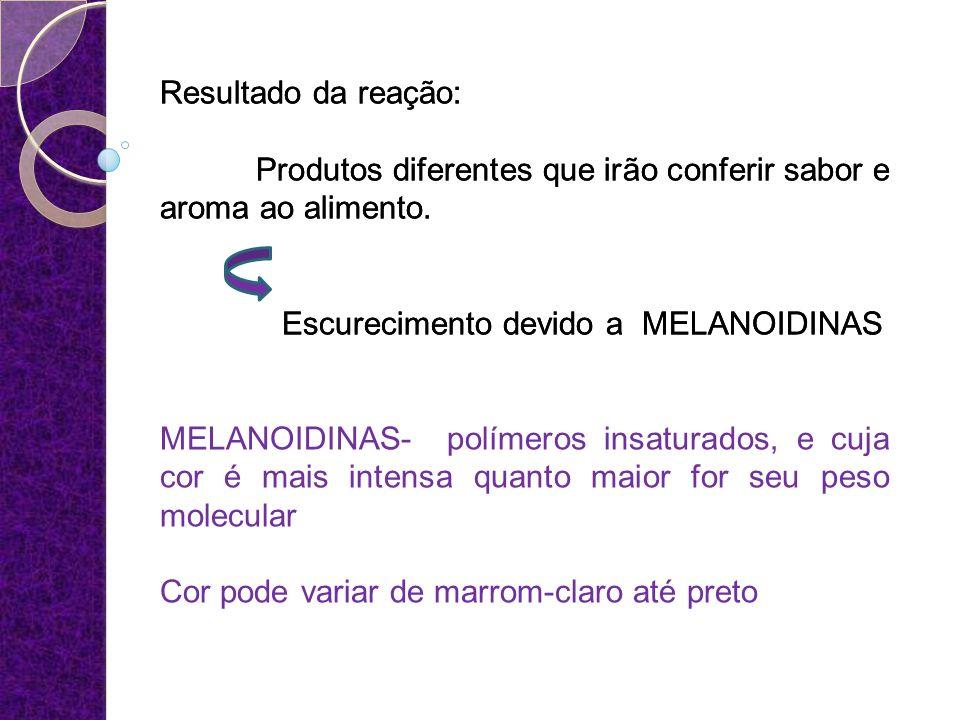 Resultado da reação: Produtos diferentes que irão conferir sabor e aroma ao alimento. Escurecimento devido a MELANOIDINAS.