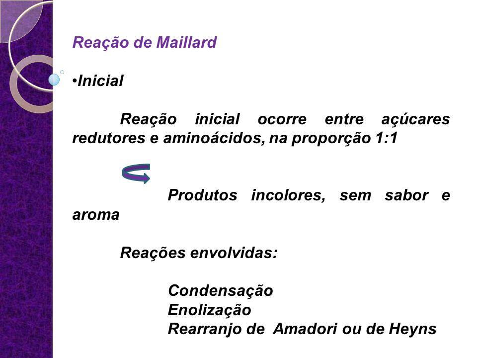 Reação de Maillard Inicial. Reação inicial ocorre entre açúcares redutores e aminoácidos, na proporção 1:1.