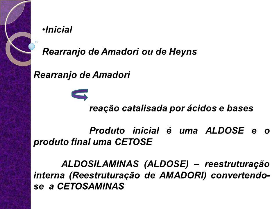 Inicial Rearranjo de Amadori ou de Heyns. Rearranjo de Amadori. reação catalisada por ácidos e bases.