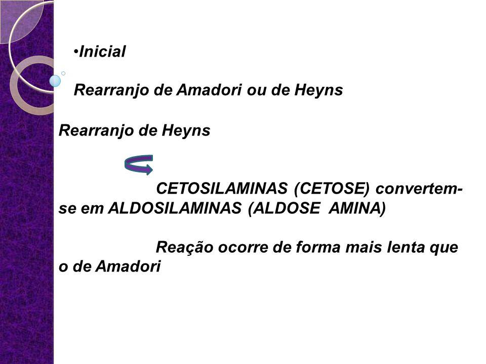 Inicial Rearranjo de Amadori ou de Heyns. Rearranjo de Heyns. CETOSILAMINAS (CETOSE) convertem-se em ALDOSILAMINAS (ALDOSE AMINA)