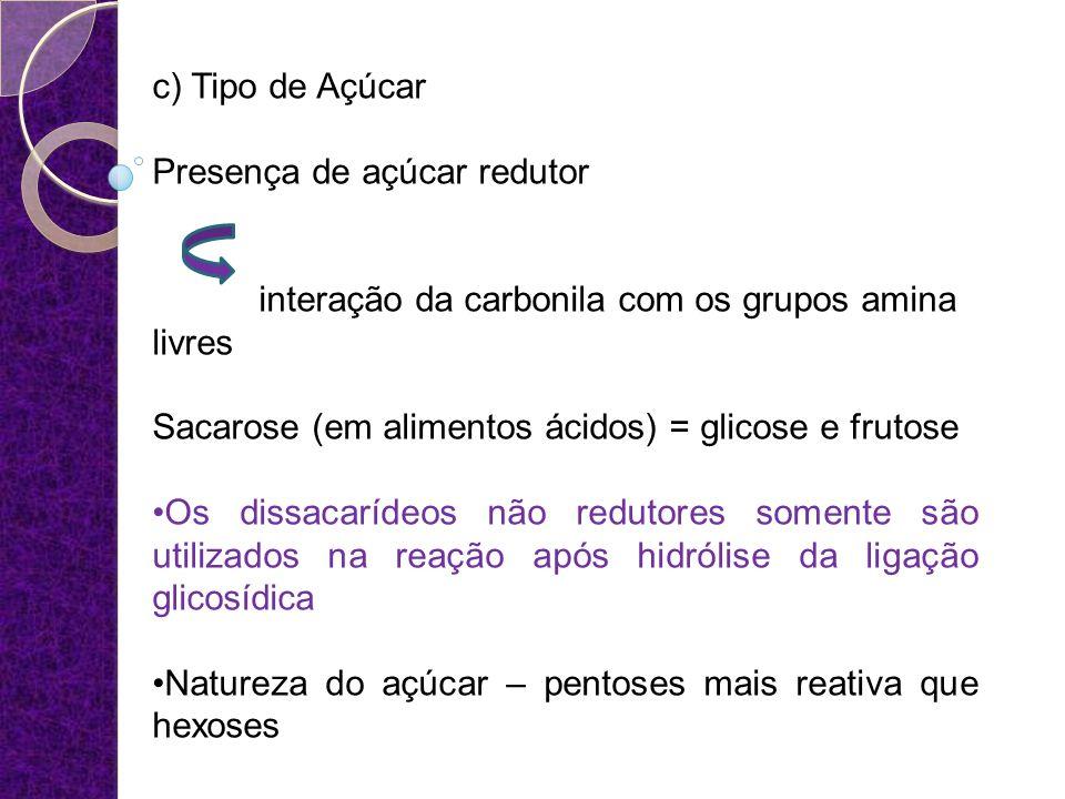 c) Tipo de Açúcar Presença de açúcar redutor. interação da carbonila com os grupos amina livres. Sacarose (em alimentos ácidos) = glicose e frutose.