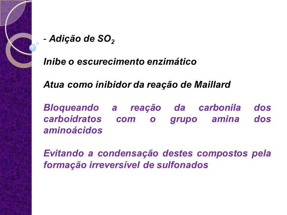 Adição de SO2 Inibe o escurecimento enzimático. Atua como inibidor da reação de Maillard.