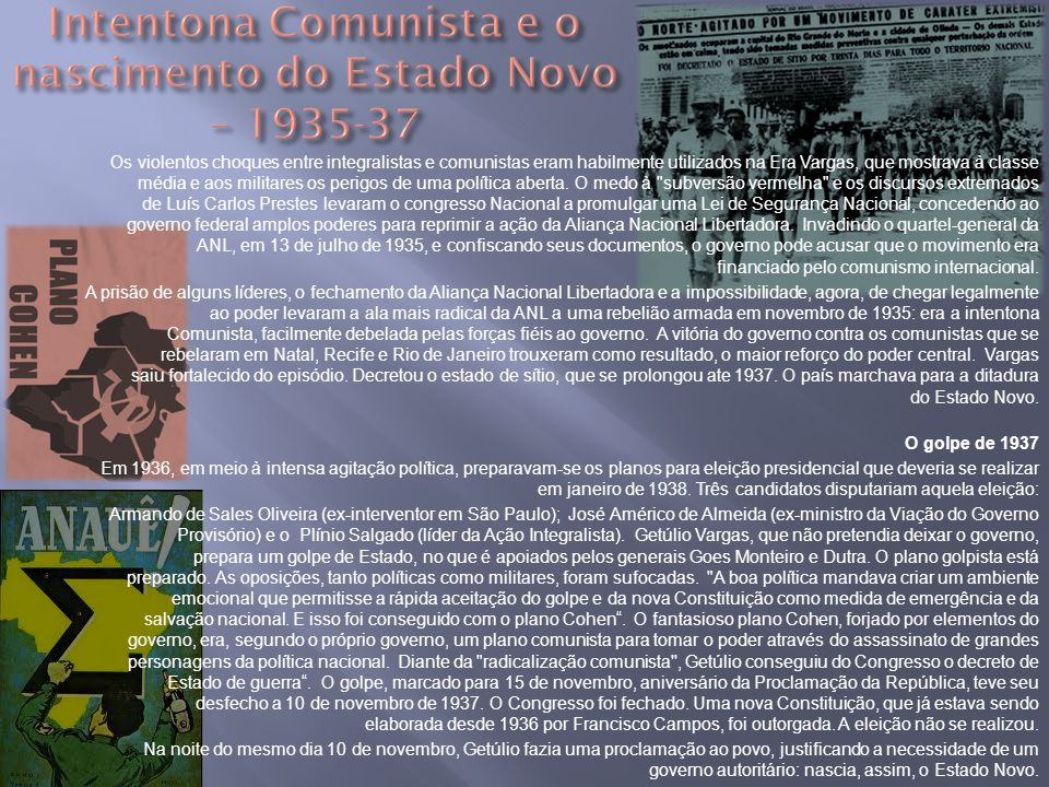 Intentona Comunista e o nascimento do Estado Novo – 1935-37