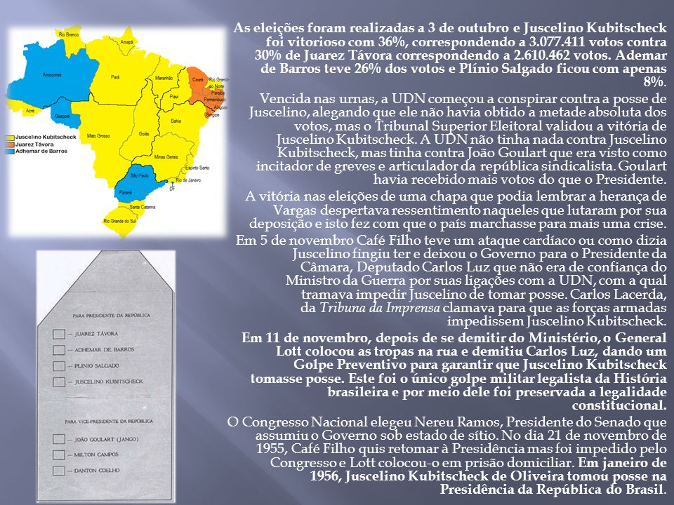 As eleições foram realizadas a 3 de outubro e Juscelino Kubitscheck foi vitorioso com 36%, correspondendo a 3.077.411 votos contra 30% de Juarez Távora correspondendo a 2.610.462 votos.