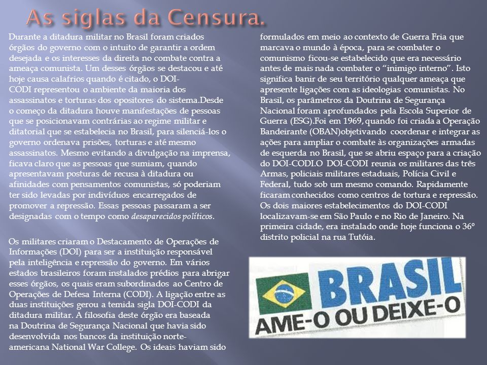 As siglas da Censura.
