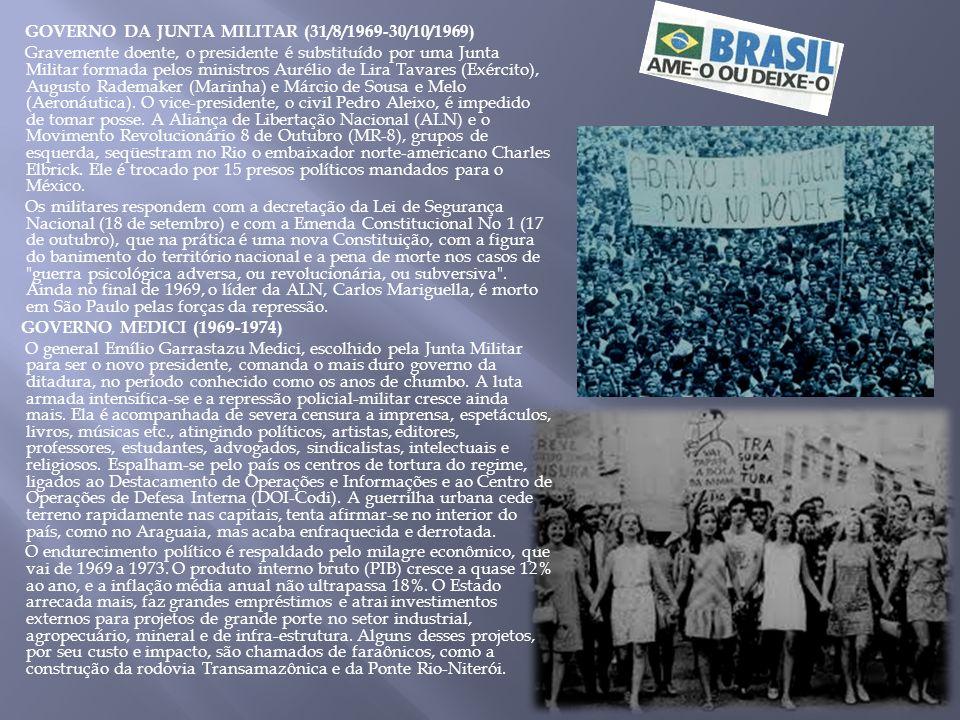 GOVERNO DA JUNTA MILITAR (31/8/1969-30/10/1969) Gravemente doente, o presidente é substituído por uma Junta Militar formada pelos ministros Aurélio de Lira Tavares (Exército), Augusto Rademaker (Marinha) e Márcio de Sousa e Melo (Aeronáutica).