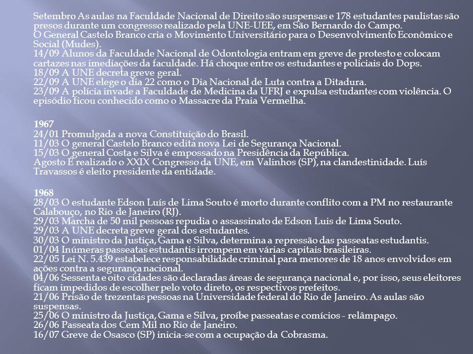 Setembro As aulas na Faculdade Nacional de Direito são suspensas e 178 estudantes paulistas são presos durante um congresso realizado pela UNE-UEE, em São Bernardo do Campo.