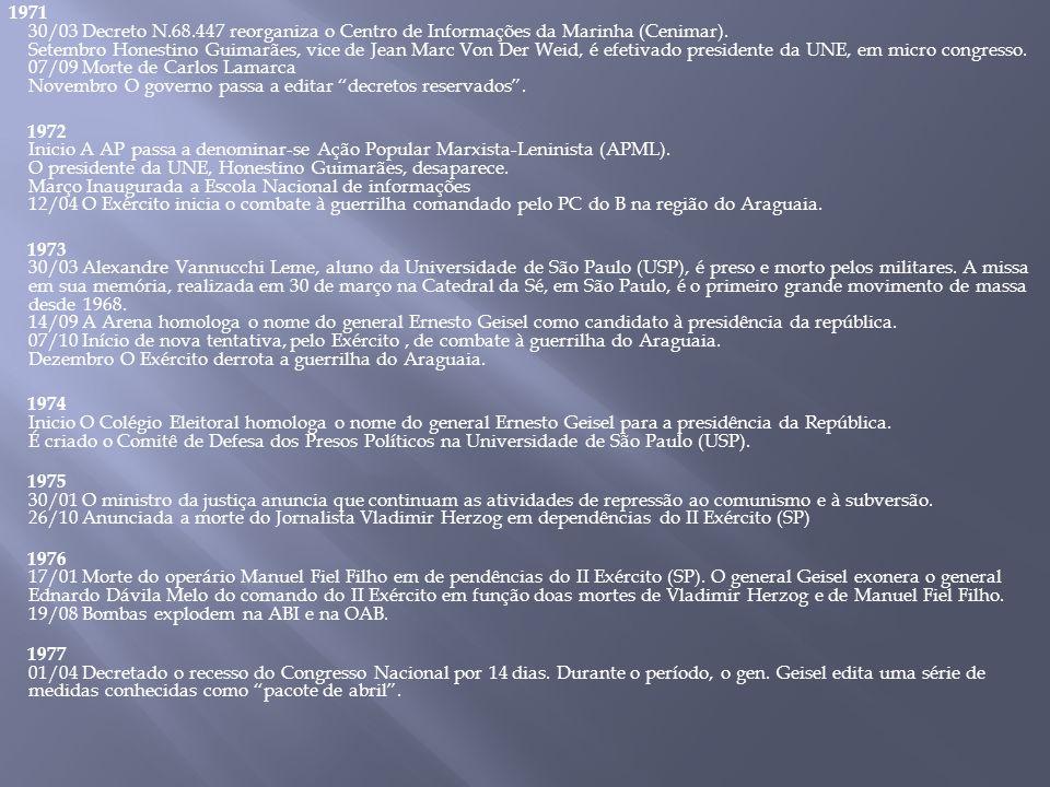 1971 30/03 Decreto N.68.447 reorganiza o Centro de Informações da Marinha (Cenimar).
