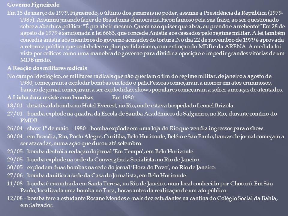 Governo Figueiredo Em 15 de março de 1979, Figueiredo, o último dos generais no poder, assume a Presidência da República (1979-1985).