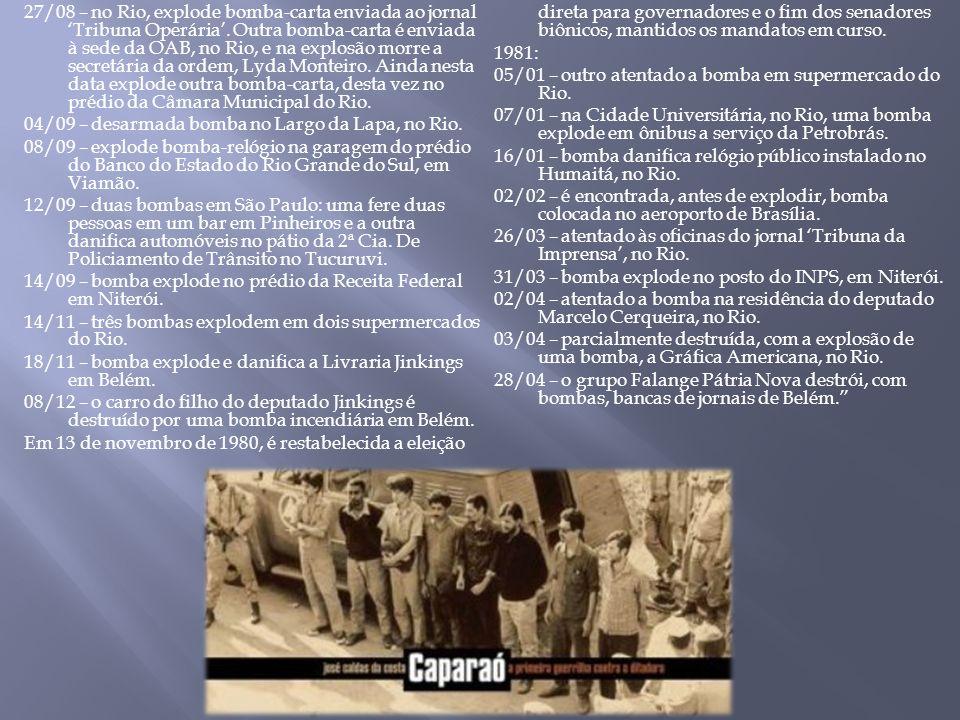 27/08 – no Rio, explode bomba-carta enviada ao jornal 'Tribuna Operária'.