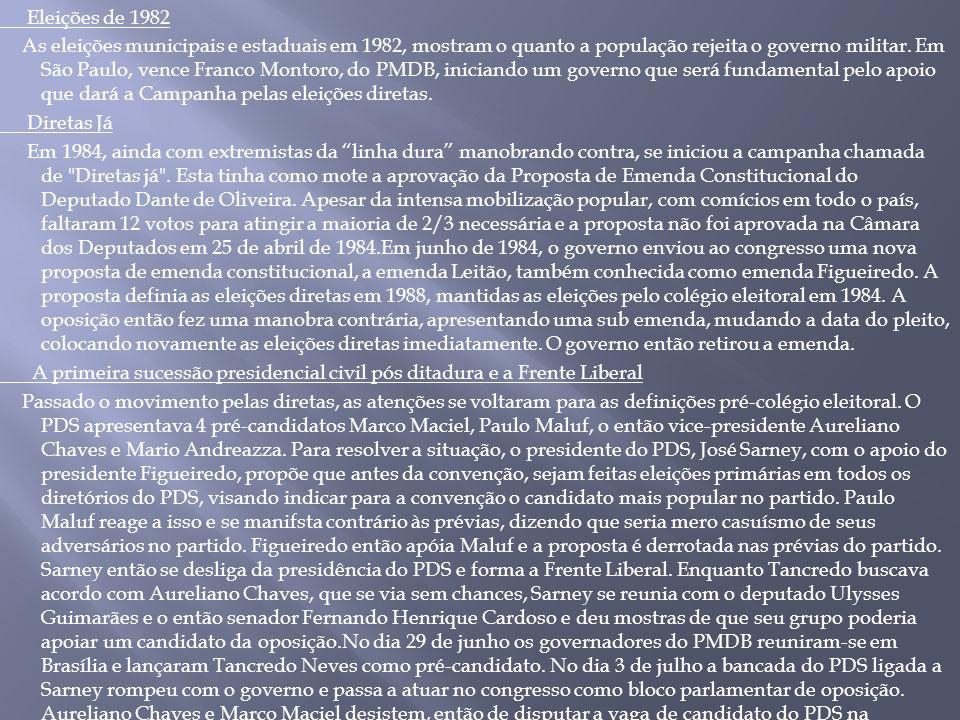 Eleições de 1982 As eleições municipais e estaduais em 1982, mostram o quanto a população rejeita o governo militar.