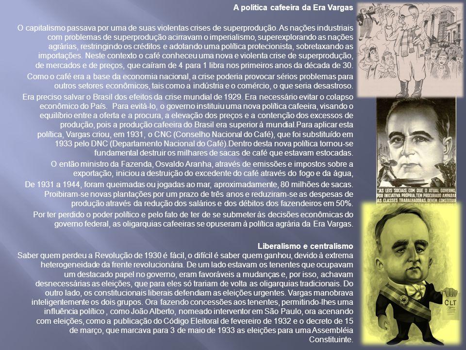A política cafeeira da Era Vargas O capitalismo passava por uma de suas violentas crises de superprodução.