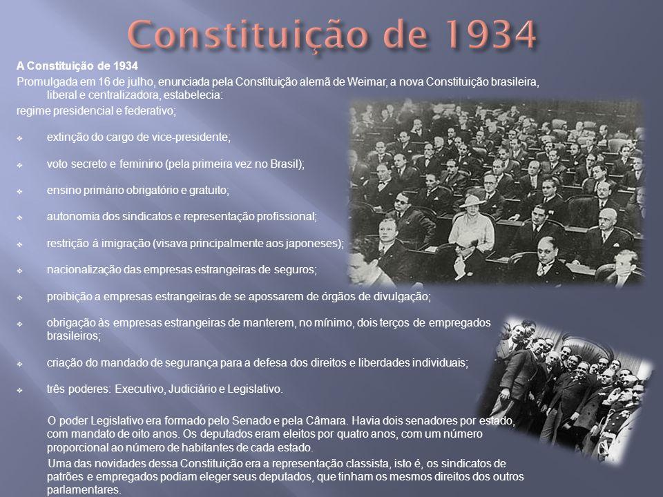 Constituição de 1934 A Constituição de 1934