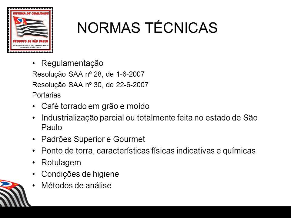 NORMAS TÉCNICAS Regulamentação Café torrado em grão e moído