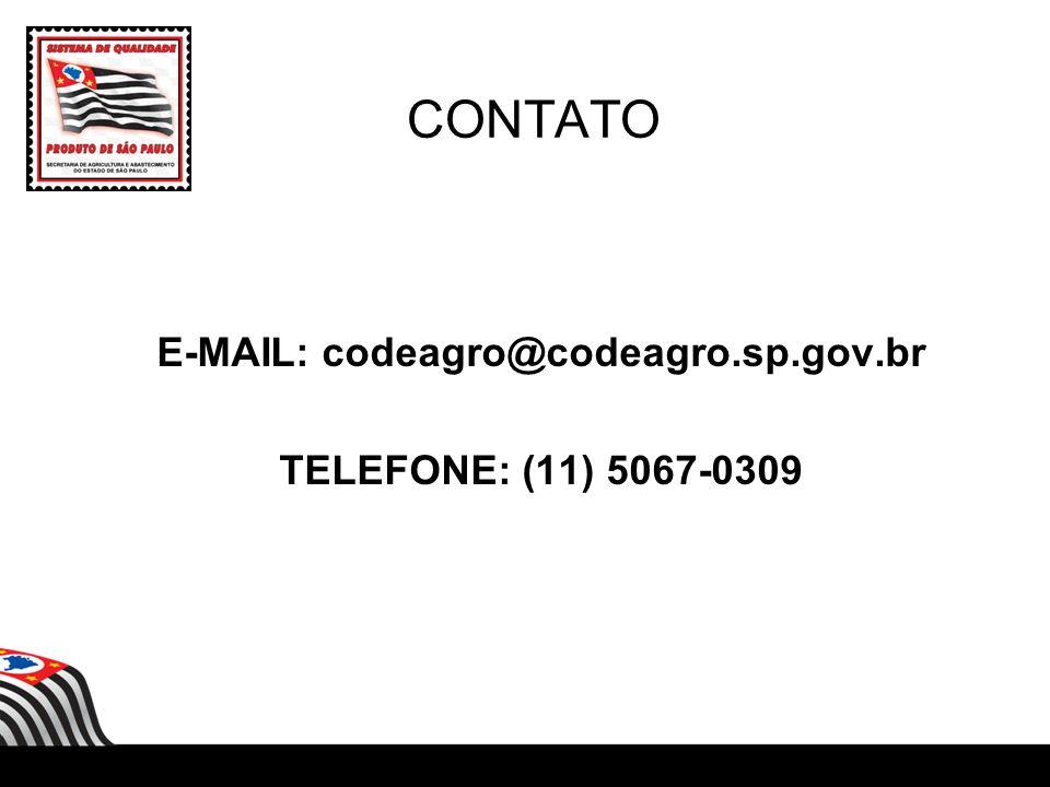 E-MAIL: codeagro@codeagro.sp.gov.br TELEFONE: (11) 5067-0309