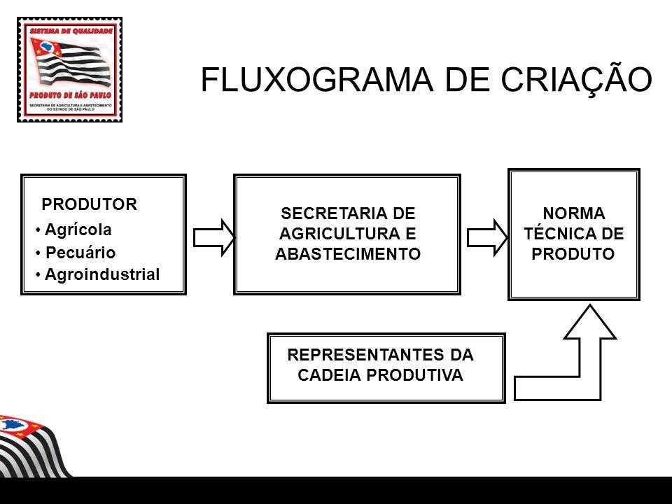 FLUXOGRAMA DE CRIAÇÃO PRODUTOR Agrícola Pecuário Agroindustrial