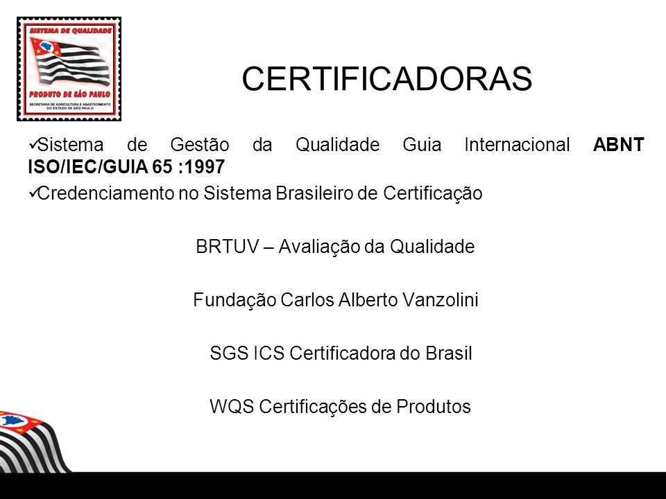 CERTIFICADORAS Sistema de Gestão da Qualidade Guia Internacional ABNT ISO/IEC/GUIA 65 :1997. Credenciamento no Sistema Brasileiro de Certificação.